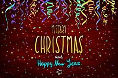 Merry Christmas and happy new year lettering design. Vector illustration EPS 10 color confetti Royalty Free Stock Image