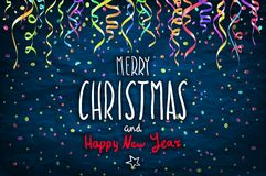 Merry Christmas and happy new year lettering design. Vector illustration EPS 10 color confetti Stock Image