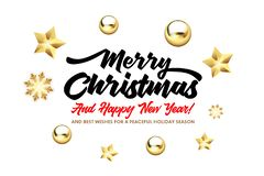 Merry Christmas, and Happy New Year lettering with golden Christmas stars and balls on a white background. Happy New Year card design. Vector illustration EPS stock illustration