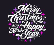 Merry Christmas and Happy New Year 2019 lettering. stock illustration