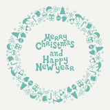 Merry Christmas and Happy New Year lettering greeting card 2017. Christmas season hand drawn pattern. Vector. Illustration. Doodle style. Decorations. Holiday Stock Photography