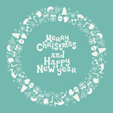 Merry Christmas and Happy New Year lettering greeting card 2017. Christmas season hand drawn pattern. Vector. Illustration. Doodle style. Decorations. Holiday Stock Image