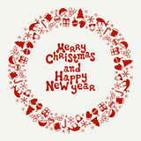 Merry Christmas and Happy New Year lettering greeting card 2017. Christmas season hand drawn pattern. Vector. Illustration. Doodle style. Decorations. Holiday Royalty Free Stock Photos