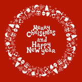 Merry Christmas and Happy New Year lettering greeting card 2017. Christmas season hand drawn pattern. Vector. Illustration. Doodle style. Decorations. Holiday Royalty Free Stock Photography