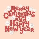 Merry Christmas and Happy New Year lettering Stock Image