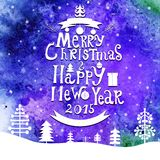 Merry Christmas and Happy New Year lettering Greeting Card. Watercolor background. Vector illustration. 2015 year royalty free illustration