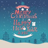 Merry Christmas and Happy New Year lettering Greeting Card. Stock Images