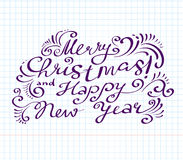 Merry Christmas and happy new year lettering hand drawm  Royalty Free Stock Photo