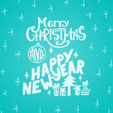 Merry Christmas and Happy new year - lettering holiday calligraphy phrase. Fun brush ink typography illustration for Royalty Free Stock Photo