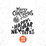 Merry Christmas and Happy new year - lettering holiday calligraphy phrase. Fun brush ink typography illustration for Stock Photo