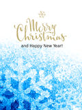 Merry Christmas and Happy New Year Lettering on ice background. Eps8. RGB. Global colors Stock Images