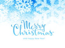 Merry Christmas and Happy New Year Lettering on ice background. Eps8. RGB. Global colors Royalty Free Stock Images
