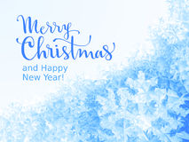Merry Christmas and Happy New Year Lettering on ice background. Eps8. RGB. Global colors Royalty Free Stock Image