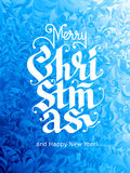 Merry Christmas and Happy New Year Lettering on ice background. Eps8. RGB. Global colors Stock Photography