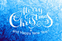 Merry Christmas and Happy New Year Lettering on ice background. Eps8. RGB. Global colors Royalty Free Stock Photography