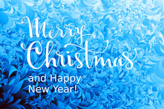 Merry Christmas and Happy New Year Lettering on ice background. Eps8. RGB. Global colors Royalty Free Stock Photos