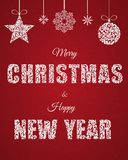 Merry Christmas and happy New Year. Lettering Inscription. DecorMerry Christmas and happy New Year. Lettering Inscription. Merry Christmas and happy New Year vector illustration