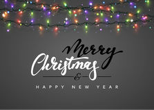 Merry Christmas and happy New Year Lettering label. Glowing Christmas Lights for Xmas Holiday Greeting Cards Design. Glowing lights Garlands Xmas Holiday Stock Photography