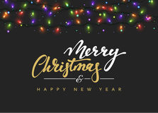 Merry Christmas and happy New Year Lettering label. Glowing Christmas Lights for Xmas Holiday Greeting Cards Design. Glowing lights Garlands Xmas Holiday Royalty Free Stock Photo
