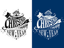 Merry Christmas, Happy New Year lettering logo design. Holiday wishes in black and white color. Vector image for christmas, new years day, greeting card, winter Vector Illustration
