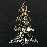Merry Christmas Happy New Year lettering Stock Photo