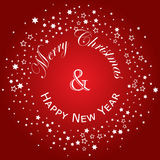 Merry Christmas and Happy New Year lettering postcard design. Vector illustration. Xmas New Year Eve. Royalty Free Stock Photos