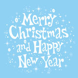 Merry Christmas and Happy New Year lettering retro text design Stock Image