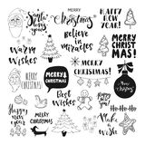 Merry Christmas and Happy New Year lettering. Set of Christmas and Happy New Year lettering and hand drawn holiday symbols. Design element for holiday greeting stock illustration