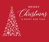 Merry Christmas and Happy New Year lettering template. Greeting card or invitation. Winter holidays related typograph Royalty Free Stock Photo
