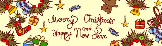 Merry Christmas And Happy New Year Lettering Text Design On Holiday Decorations Background Hand Drawn Style Horizontal Stock Photo