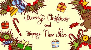 Merry Christmas And Happy New Year Lettering Text Design On Holiday Decorations Background Hand Drawn Style Horizontal Royalty Free Stock Photos
