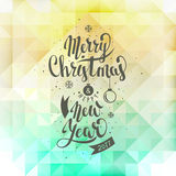 Merry Christmas and Happy New Year. Lettering. Vector. Abstract Geometric Background Stock Photos