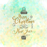 Merry Christmas and Happy New Year. Lettering. Vector. Abstract Geometric Background Royalty Free Stock Photos