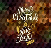 Merry Christmas and Happy New Year. Lettering. Vector Royalty Free Stock Images