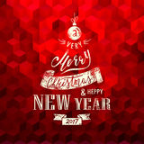 Merry Christmas and Happy New Year. Lettering. Vector Stock Photography