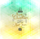 Merry Christmas and Happy New Year. Lettering. Vector. Abstract Geometric Background Royalty Free Stock Image