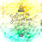 Merry Christmas and Happy New Year. Lettering. Vector. Abstract Geometric Background Stock Images