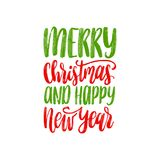 Merry Christmas and Happy New Year lettering.Vector festive calligraphic illustration. Happy Holidays greeting card etc. Merry Christmas and Happy New Year Royalty Free Stock Images