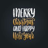 Merry Christmas and Happy New Year lettering.Vector festive calligraphic illustration. Happy Holidays greeting card etc. Merry Christmas and Happy New Year Stock Image