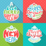 Merry Christmas And Happy New Year letterings. Stock Images