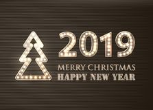 2019 Merry Christmas and Happy New Year With Lighbulbs. Retro Greeting Background. vector illustration