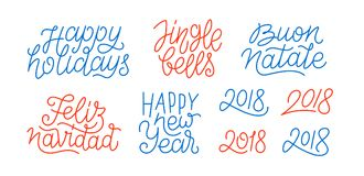 Merry Christmas and Happy New Year line art text. Happy New Year, set of numbers 2018, Feliz Navidad, Buon Natale, Happy Holidays line art calligraphic lettering Royalty Free Stock Photos