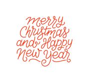 Merry Christmas and Happy New Year line art text Royalty Free Stock Photography