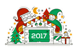 Merry Christmas and Happy New Year - line design card. Merry Christmas and Happy New Year 2017 line design card with holidays symbols - Santa Claus, elf, house Stock Photo