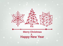 Merry Christmas and Happy New Year, Line Minimalist Style Greeting Card, Beautiful Elegant Design, Vector Illustration Royalty Free Stock Photography