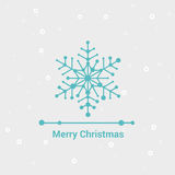 Merry Christmas and Happy New Year, Line Minimalist Style Greeting Card, Beautiful Elegant Design, Vector Illustration Stock Images