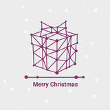 Merry Christmas and Happy New Year, Line Minimalist Style Greeting Card, Beautiful Elegant Design, Vector Illustration Royalty Free Stock Images