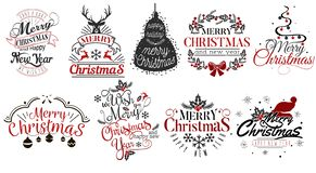 Merry Christmas and Happy New Year logo set. Collection of lettering emblems with snowflakes toys Xmas trees vector illustration. Usable for banners greeting royalty free illustration