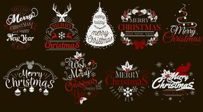 Merry Christmas and Happy New Year logo set. Collection of lettering emblems with snowflakes toys Xmas trees vector illustration. Usable for banners greeting vector illustration