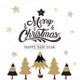 Merry Christmas, happy new year, logo & symbol design, gold, vec. Tor illustration stock illustration